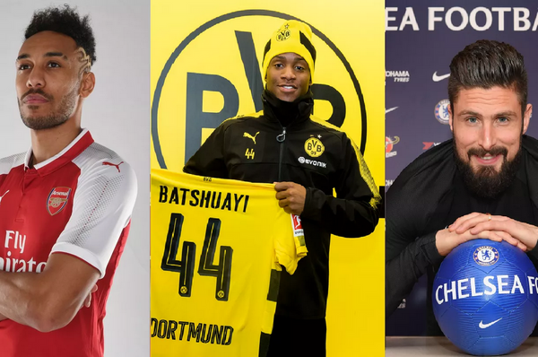 Who won the Aubameyang-Batshuayi-Giroud transfer?